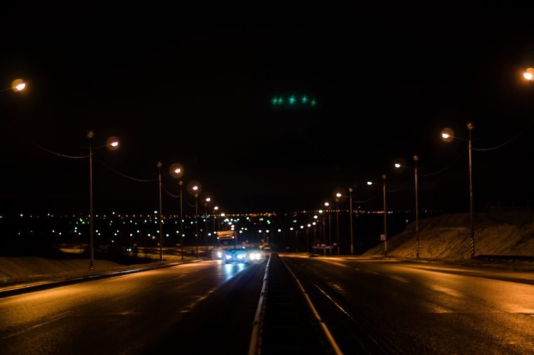 UFO over the road