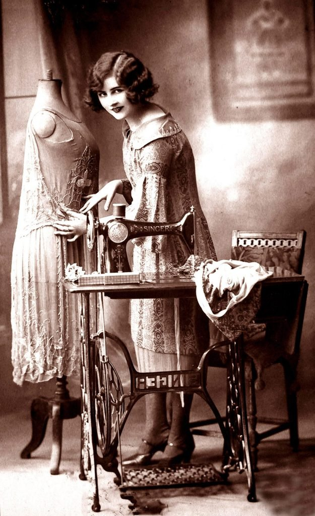 Fashion designer with sewing machine