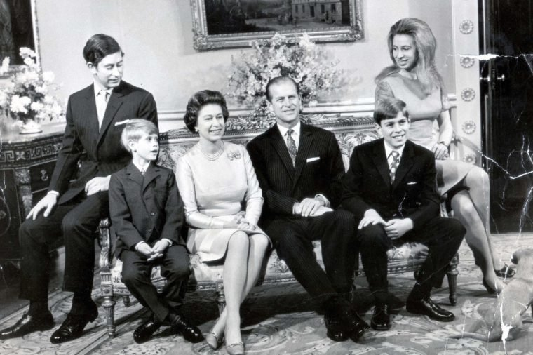 Silver Wedding Day 1972 Pickles The Dog Surveys The British Royal Family As They Pose For Pictures In The Drawing Room Of The Belgian Suite At Buckingham Palace This Morning November 20th. The Occasion Was The Royal Couple's Silver Wedding 25 Years After Their Wedding On November 20th 1947. From Left In The Picture Are: Prince Charles (prince Of Wales) The Heir To The Throne Aged 24; Prince Edward (earl Of Wessex) The Youngest Child Aged 8; The Queen Prince Philip (duke Of Edinburgh) Prince Andrew (duke Of York) Aged 12 And Princess Anne (princess Royal) 22.