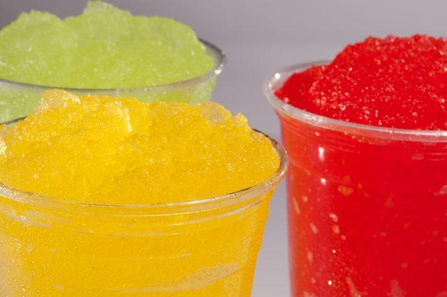 slush drink in plastic cup