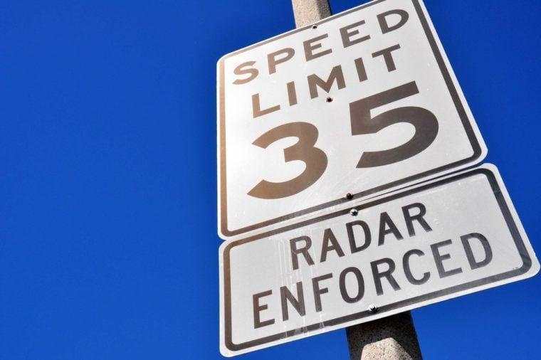 35 miles per hour sign, radar enforced
