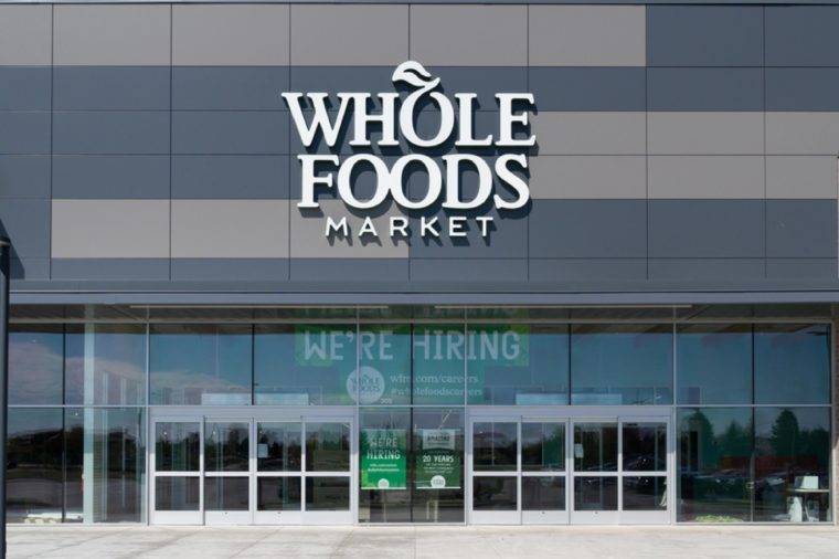 ST. PAUL, MN/USA - MAY 7, 2017: Whole Foods Market exterior and logo. Whole Foods Market Inc. is an American supermarket chain.