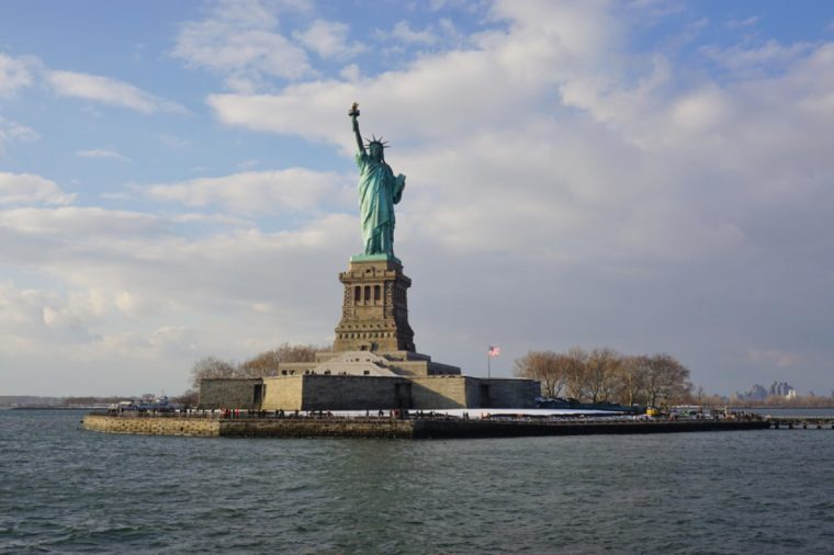 NEW YORK CITY -10 DEC 2017- View of The Statue of Liberty in New York, part of the Statue of Liberty National Monument.