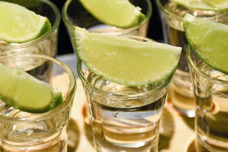Tequila and lime slice