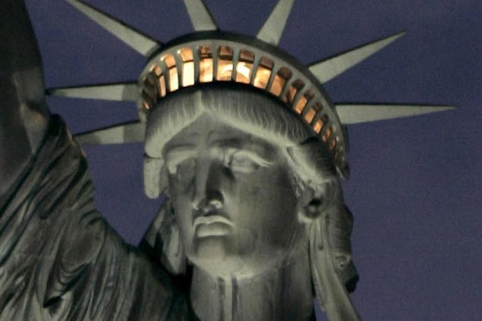The Statue of Liberty is Seen Illuminated at Night in New York Harbor Monday 07 August 2006 a Gift From France in 1885 the Statue's Interior Has Been Closed to Visitors Since the Terrorist Attacks of 11 September 2001 the National Park Service Announced Wednesday 09 August 2006 That the Statue's Crown Will Remain Closed to the Public Due to the Risks of Fire and Terrorism