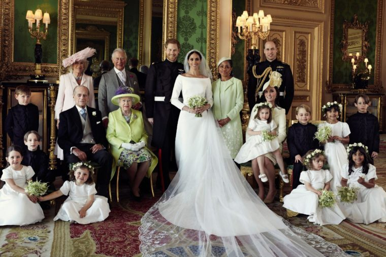 This official wedding photograph released by the Duke and Duchess of Sussex, Meghan Markle and Prince Harry, shows - The Duke and Duchess in The Green Drawing Room, Windsor Castle, with (left-to-right): Back row: Master Jasper Dyer, Camilla Duchess of Cornwall, Prince Charles, Ms. Doria Ragland, Prince William ; middle row: Master Brian Mulroney, Prince Philip, Queen Elizabeth II, Catherine Duchess of Cambridge, Princess Charlotte, Prince George, Miss Rylan Litt, Master John Mulroney ; Front row: Miss Ivy Mulroney, Miss Florence van Cutsem, Miss Zalie Warren, Miss Remi Litt.