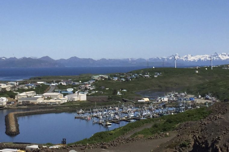 This photo provided by Andy Varner, city administrator for Sand Point, Alaska, shows the city's harbor. The small, isolated town at the edge of Alaska's Aleutian Islands had no police oversight for several days after its three officers quit in quick succession and its police chief resigned. Officials say the predicament that befell Sand Point illustrates the persistent challenges of hiring and retaining workers in rural parts of the vast state. Town officials say no big problems occurred when officers were absent