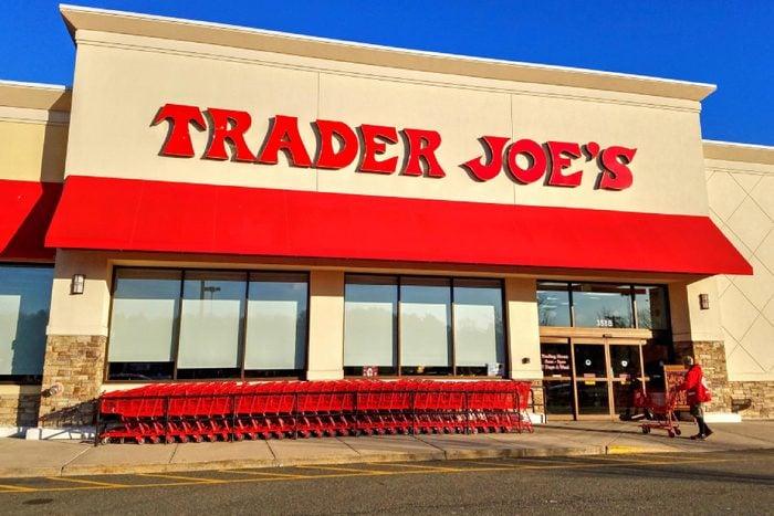 Trader Joe's discount retailer storefront, shopping carts - Saugus, Massachusetts USA - February 27, 2018