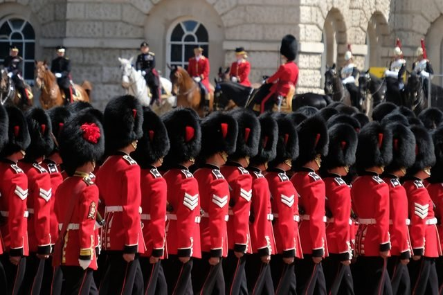 Trooping the Colour ceremony, London on a sunny day