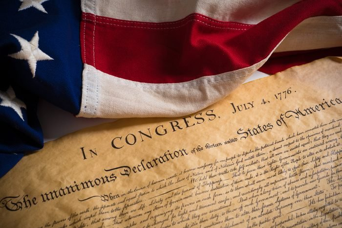 United States Declartion of Independence with vintage flag. July 4th.