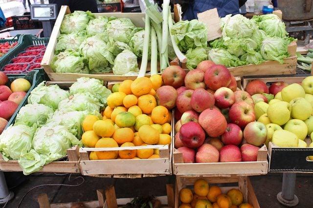 Fresh organic food stall on green market