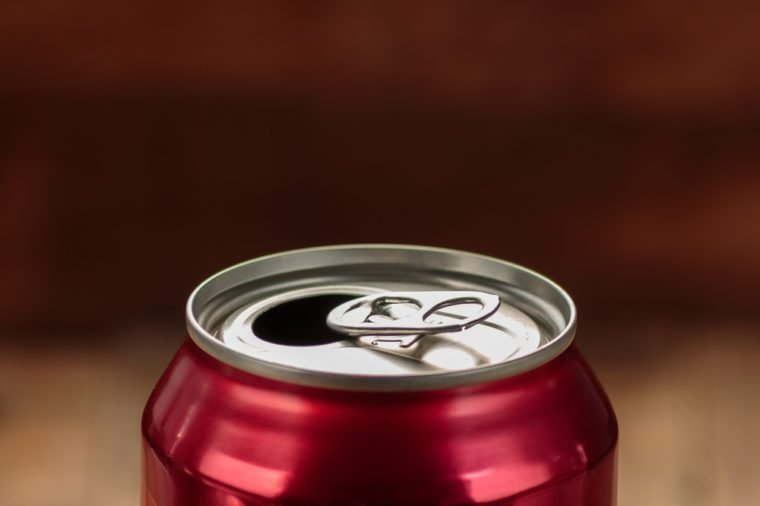 Top of red open soda can