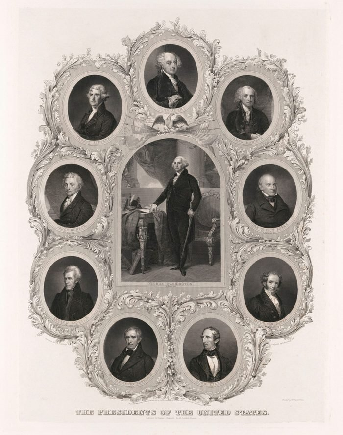 Mandatory Credit: Photo by Glasshouse Images/Shutterstock (10256845a) The Presidents of the United States, designed by C.H.H. Billings, Engraving by D. Kimberly, 1842 VARIOUS