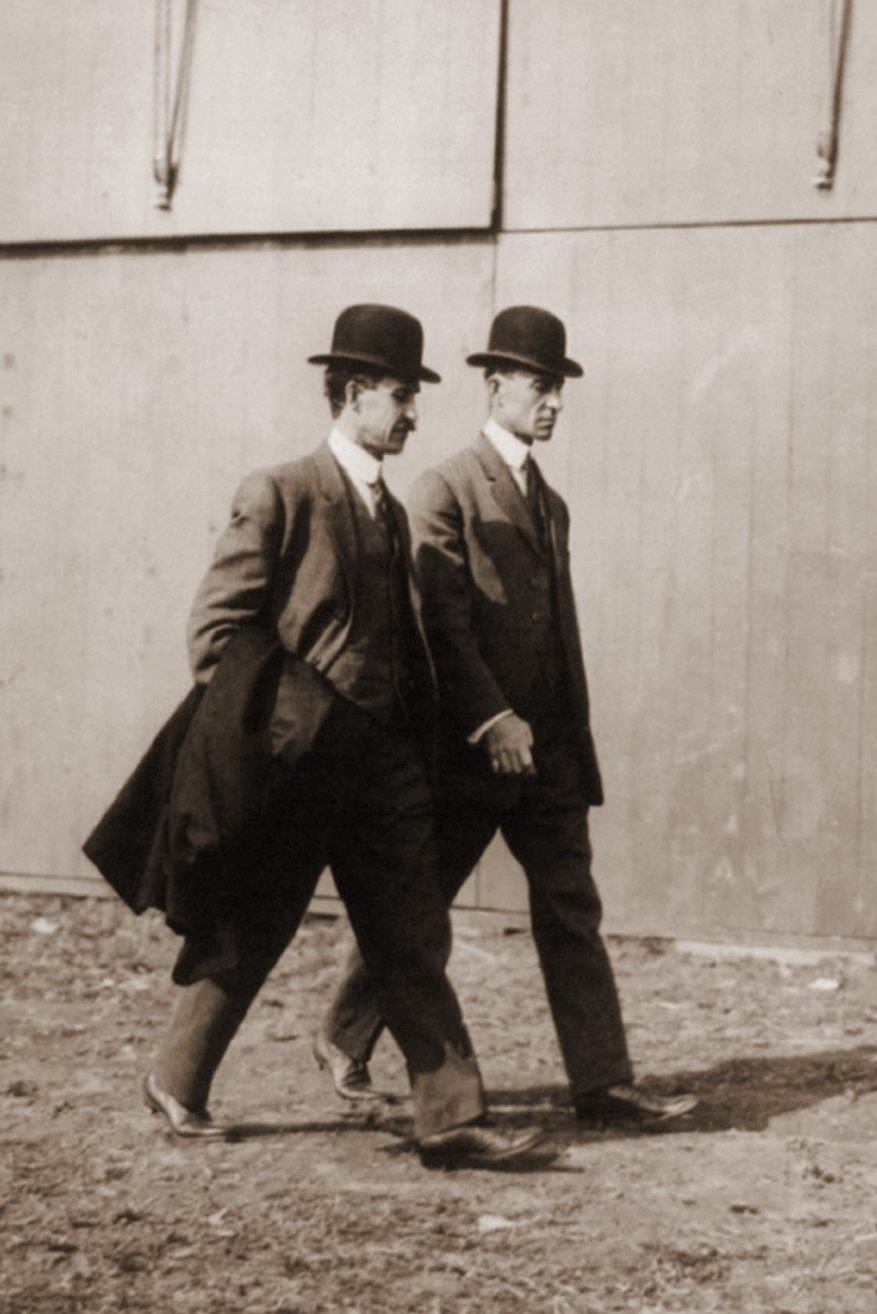 Mandatory Credit: Photo by Everett/Shutterstock (10278350a) The Wright brothers at the International Aviation Tournament Belmont Park Long Island N.Y. Oct. 1910. Historical Collection