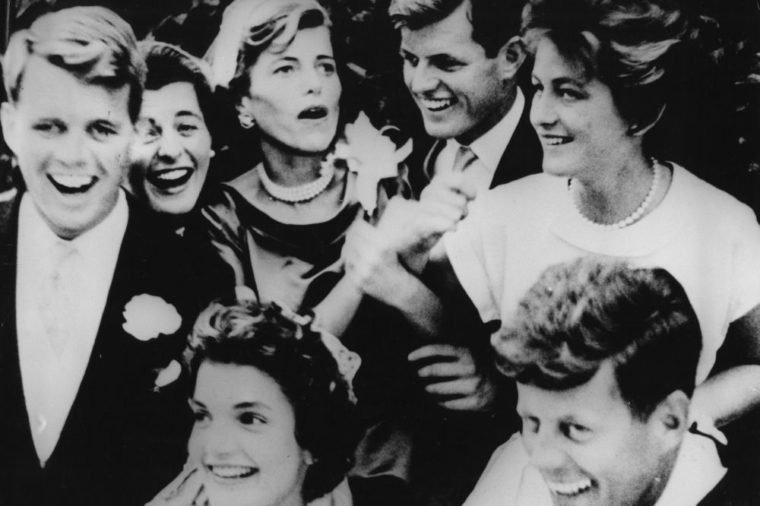 Kennedy siblings at the wedding reception of Jacqueline Bouvier to John F. Kennedy