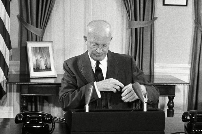 Dwight D. Eisenhower Candid photo of President Dwight Eisenhower at the White House, Washington, where he made a nationwide television-radio address, reporting on his South American trip
