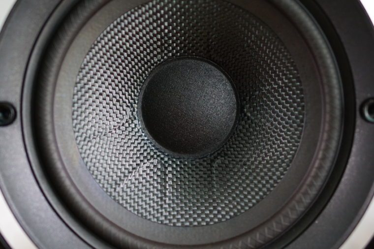 Close up details of loudspeaker woofer driver. Back and white.