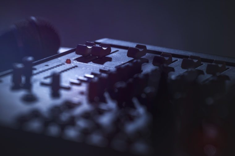 Detail of mixing soundboard with microphone
