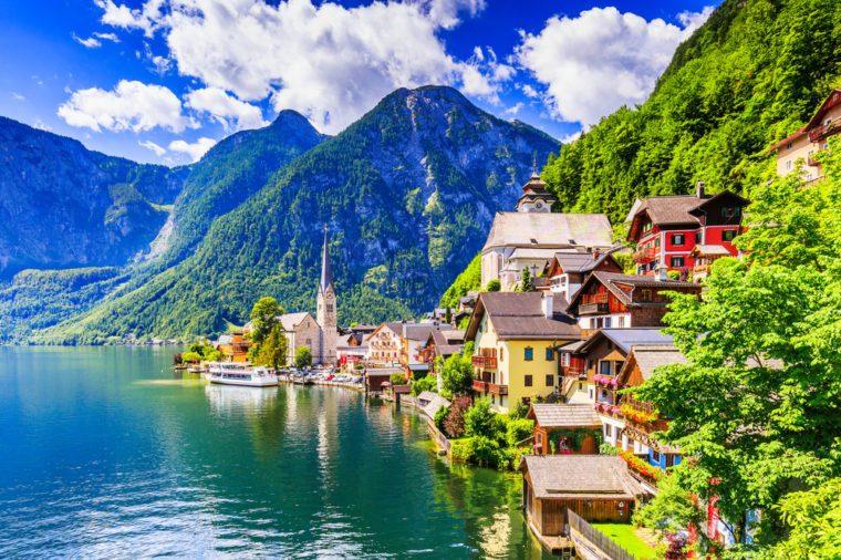 Hallstatt, Austria. Mountain village in the Austrian Alps.
