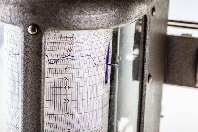close up shot of an old vintage hygrometer or seismograph