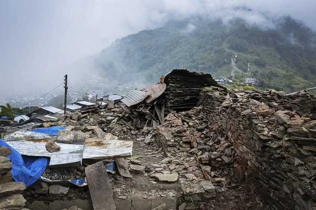 Barpak - Buildings in Northern Gorkha in Nepal destroyed by the 2015 earthquakes in Nepal.