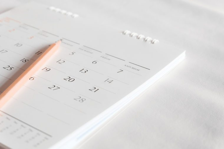 Calendar page on white.