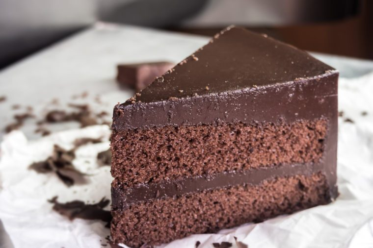 chocolate fudge cake,selective focus.