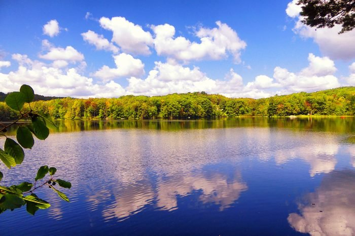 Burr pond state park beautiful autumn views in Torrington Connecticut America.