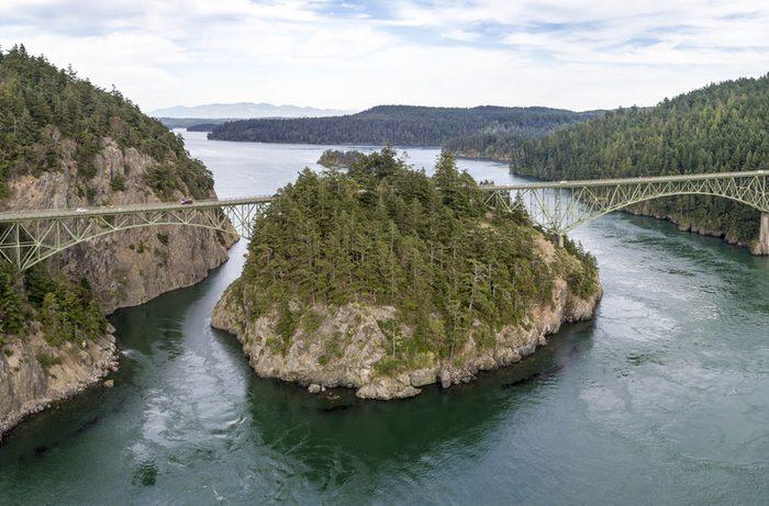 Coastal Landscape of Massive Bridge Connecting Islands