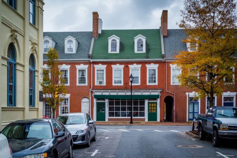 Autumn color and brick buildings in Easton, Maryland.