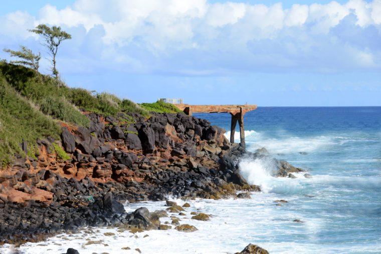 Pinapple dump pier on the bike path at kappa, Kauai