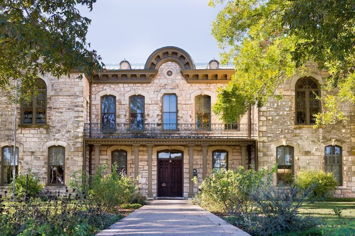 Public library in Fredericksburg, Texas with limestone veneer