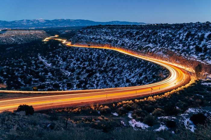 Light streaks on the highway