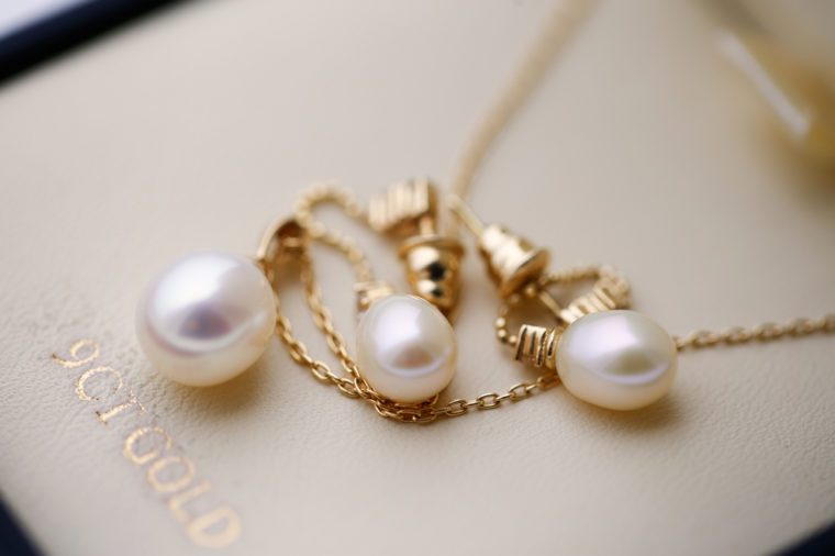 Beautiful pearls of bride's jewelry