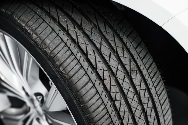 Brand New Car Tire Closeup Photo. Modern Car Tire