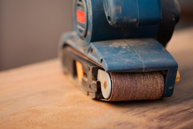Close up of a belt sander