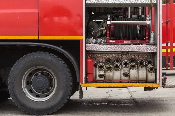 Fire truck with firehose