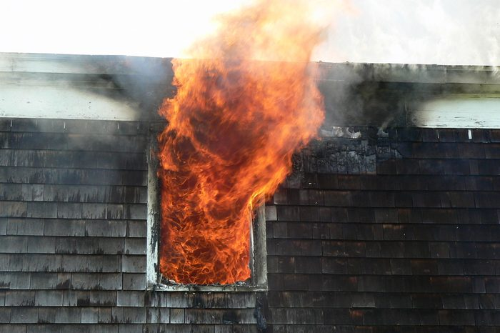 House fire close up