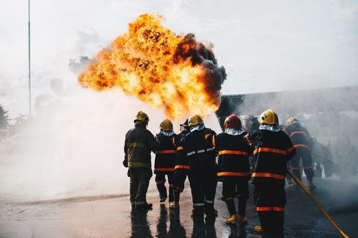 teamwork of Firefighters training