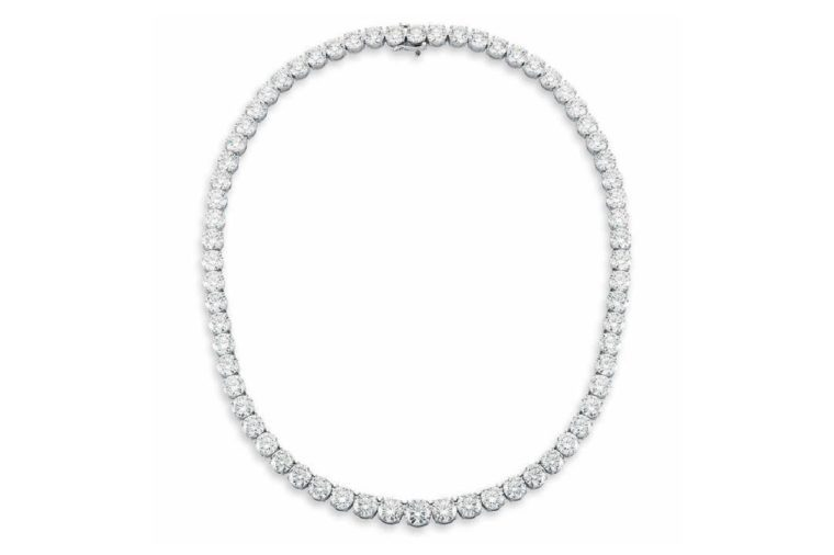 Round Brilliant 78.19 ctw VS1/VS2 Clarity H/I Color Diamond 18kt White Gold Necklace
