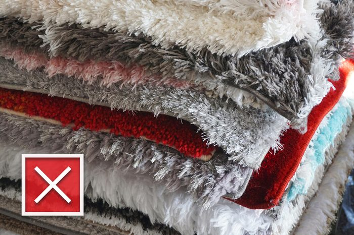 close up on stacking fluffy carpet