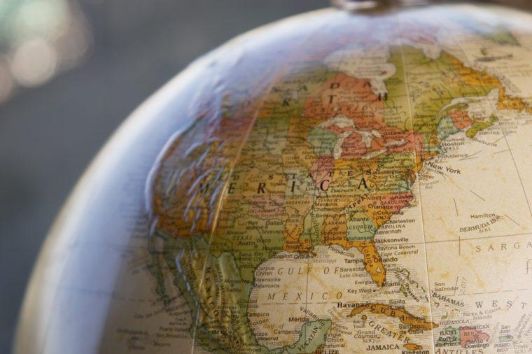 Globe close-up of USA