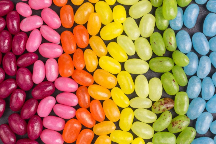 background of jelly beans with different colors and flavors