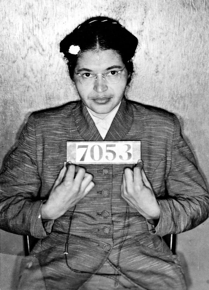 Mandatory Credit: Photo by Universal History Archive/UIG/Shutterstock (2541859a) Rosa Louise McCauley Parks (1913-2005), American Civil Rights activist. Booking photo taken at the time of her arrest for refusing to give up her seat on a Montgomery, Alabama, bus to a white passenger on 1 December 1955. History