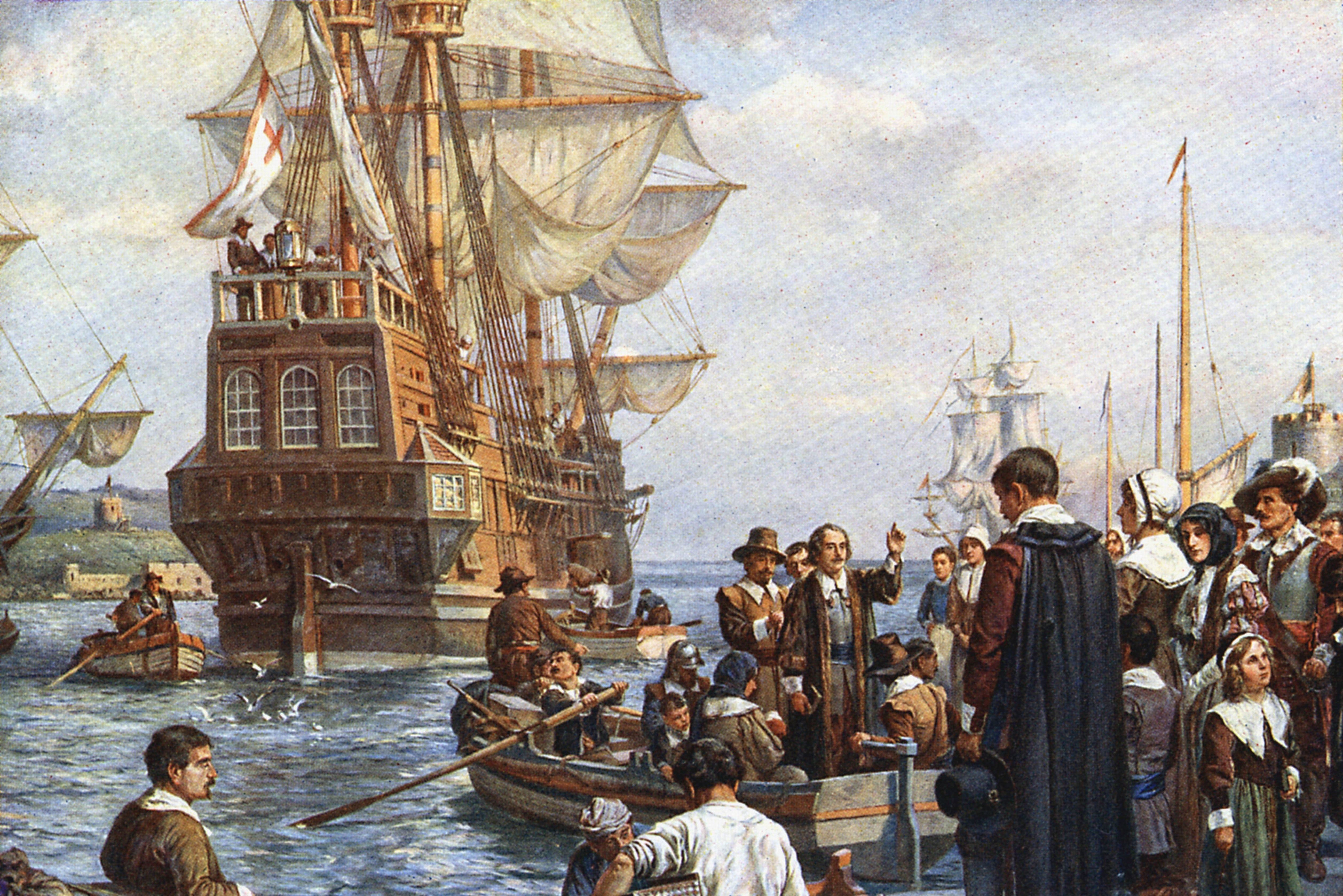 Mandatory Credit: Photo by Universal History Archive/Shutterstock (3864664a) The Pilgrim Fathers boarding the 'Mayflower' for their voyage to America. After painting by Bernard Gribble. VARIOUS