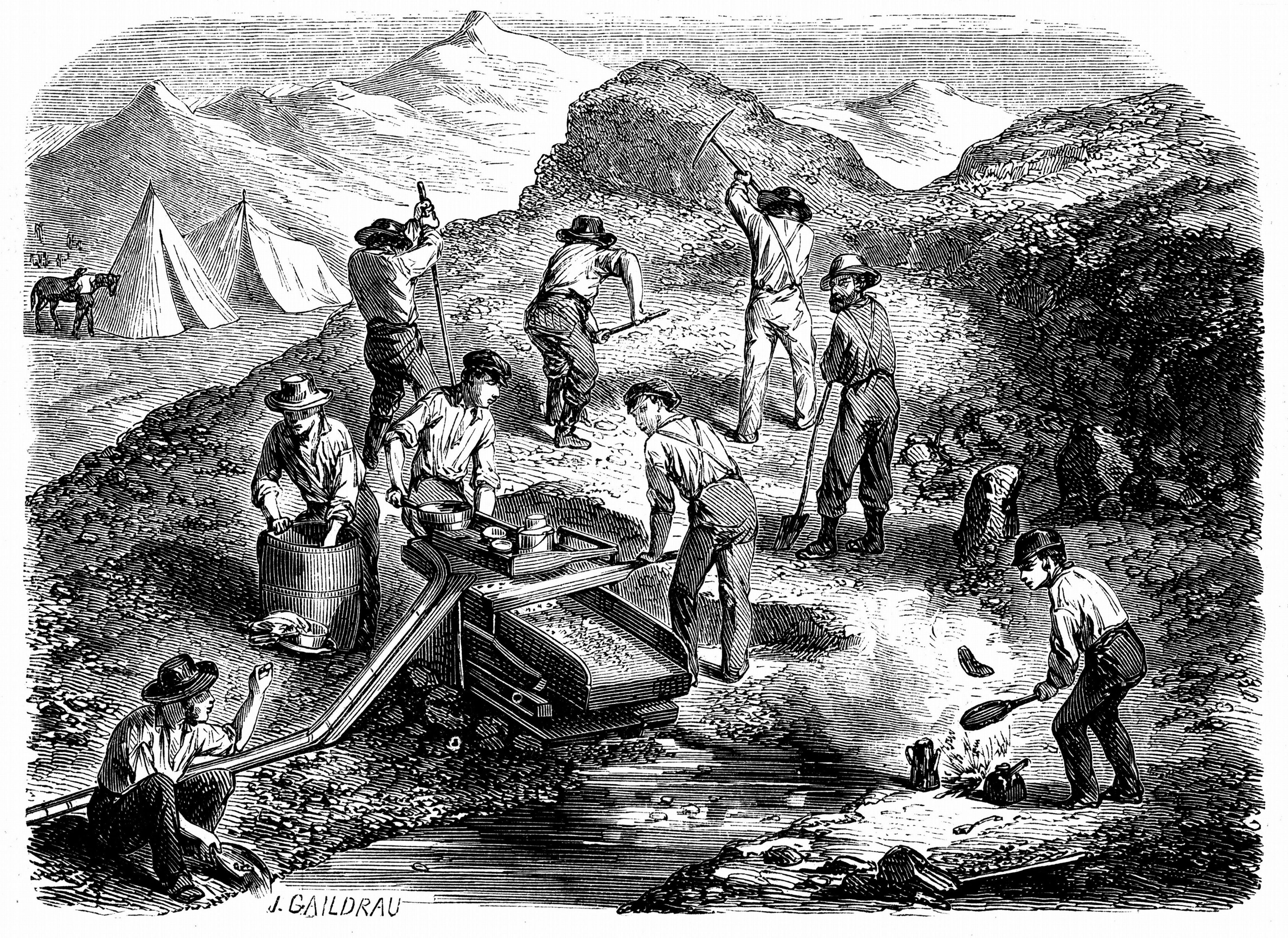 Mandatory Credit: Photo by Universal History Archive/Shutterstock (3874782a) Miners washing for gold using a cradle in the: Californian gold fields. Wood engraving published Paris, 1849, the year of the Californian Gold Rush VARIOUS