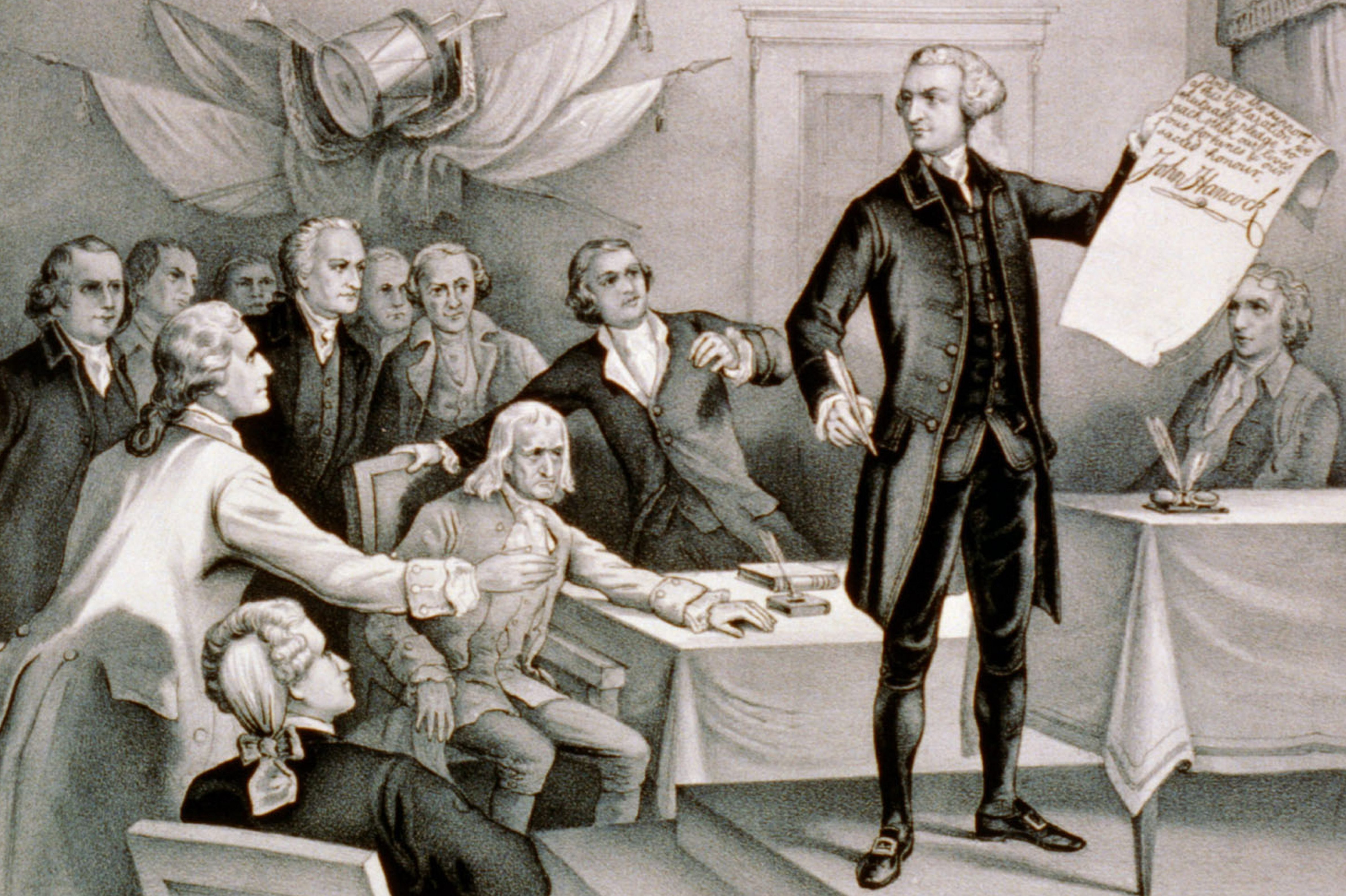 Mandatory Credit: Photo by Universal History Archive/UIG/Shutterstock (4425736a) John Hancock's defiance on July 4th 1776. He served as president of the Second Continental Congress and was the first and third Governor of the Commonwealth of Massachusetts. He is remembered for his large and stylish signature on the United States Declaration of Independence. VARIOUS