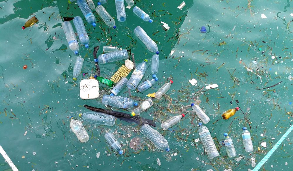 Plastic bottle in the ocean sea water