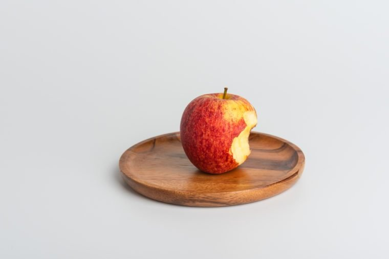 Apple - Fruit, Biting, Missing Bite, Red, White Background