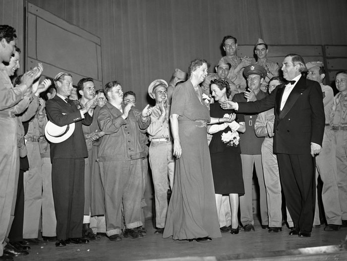Mandatory Credit: Photo by Harry Harris/AP/Shutterstock (5956401c) Eleanor Roosevelt John Golden, right, theatrical producer, presents first lady Eleanor Roosevelt, center, on the stage of a New York City theater, following a benefit performance of an Army show. Present are the Duke (left with hat under arm) and Duchess of Windsor (standing at right of Mrs. Roosevelt Eleanor Roosevelt, New York, USA
